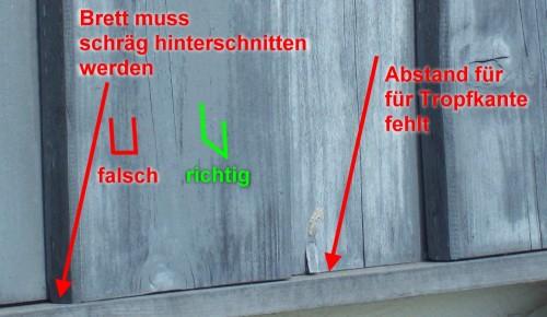 Boden- Deckelschalung mit Holzlasur Silbergrau - Fehler in der Konstruktion