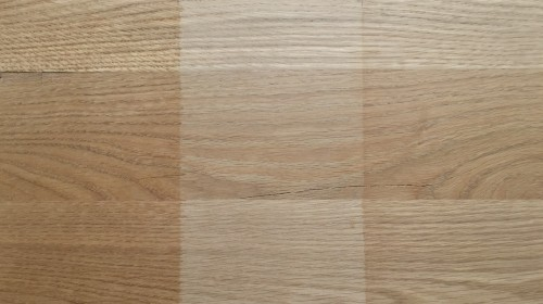 Hartöl und Möbelöl mit Weiss-Pigment auf Eiche