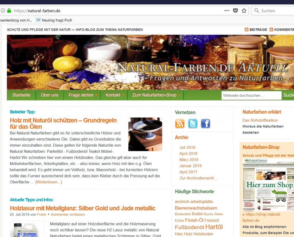 Das alte Layout des Natural Naturfarben Blog